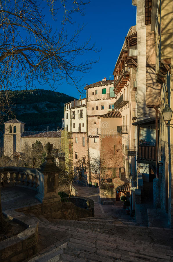 Typical streets and buildings of the famous city of Cuenca in sunset, Spain royalty free stock photo