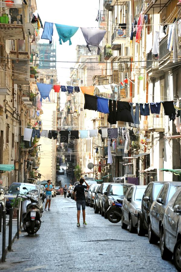 Typical streets in Naples , Italy stock image