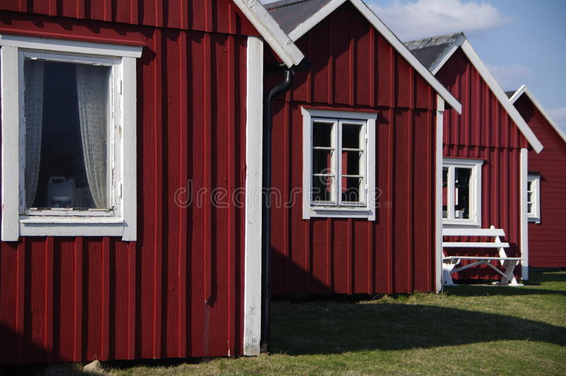 Typical Swedish Fishing Huts Royalty Free Stock Images