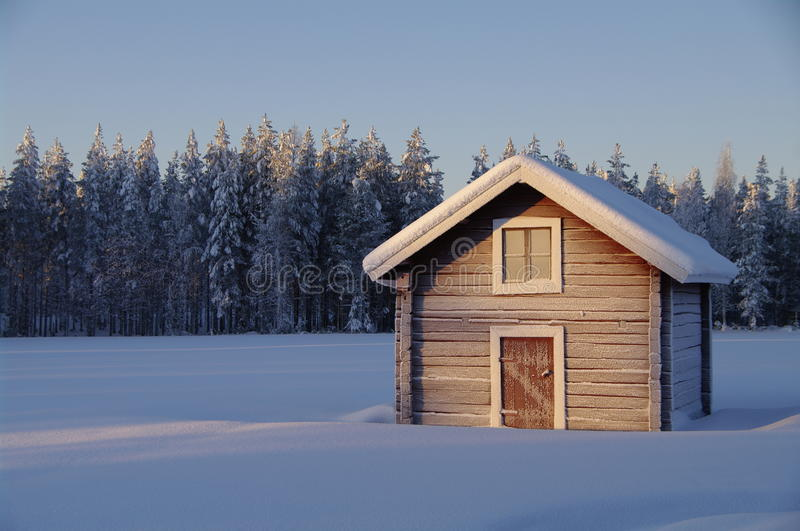 Typical swedish hut in winter stock photo