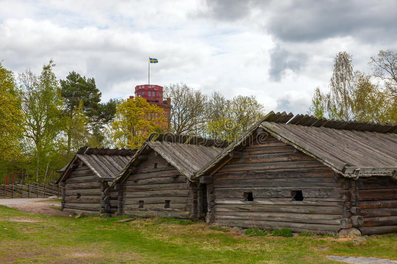 Typical swedish wooden houses - farmhouse yard, royalty free stock image