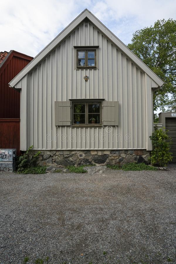 Typical swedish wooden houses in Stockholm stock photography
