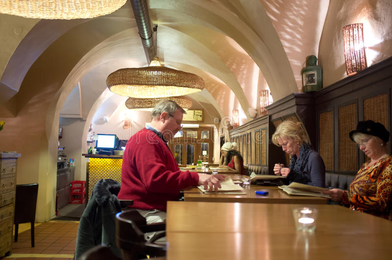 Download Restaurant in Prague editorial stock image. Image of city - 30217504