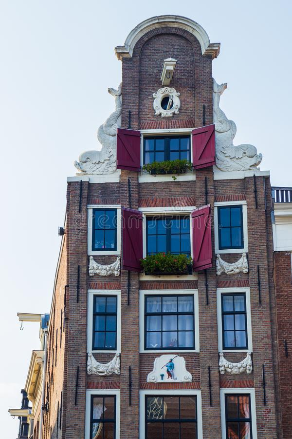 Typical 17th century Amsterdam canal house, Kloveniersburgwal, Amsterdam royalty free stock photo