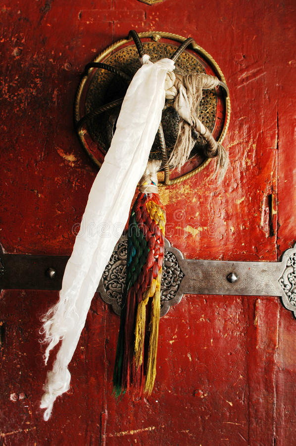 A typical tibetan door stock photography