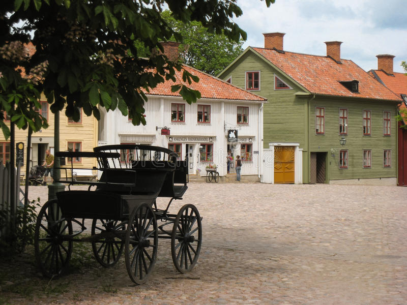 Typical timber houses in Gamla Linkoping. Sweden royalty free stock images