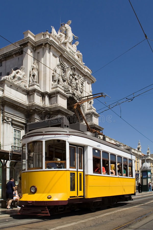 Download Typical Tram in Lisbon stock photo. Image of augusta, electric - 2579684