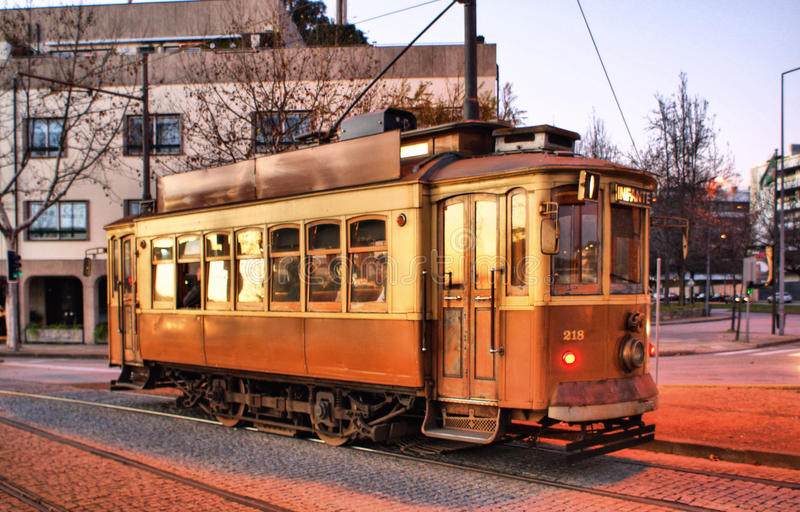 Typical tram in Porto royalty free stock photos