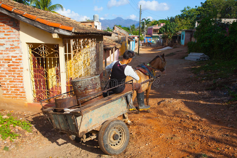 The typical transportation materials in old colonial city, Trinidad, Cuba. royalty free stock photography