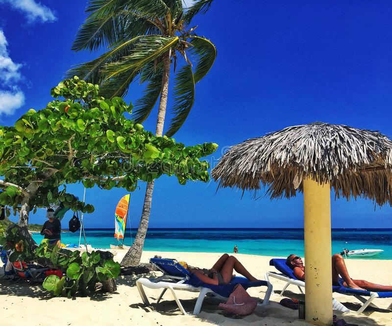 Typical tropical beach scene with sunbathers royalty free stock photo