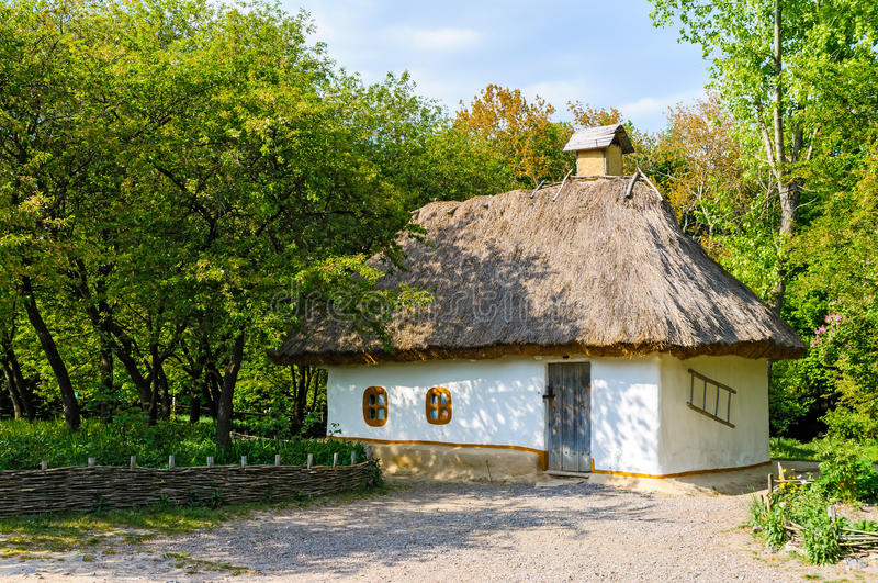 A typical ukrainian antique house. In Pirogovo near Kiev stock images