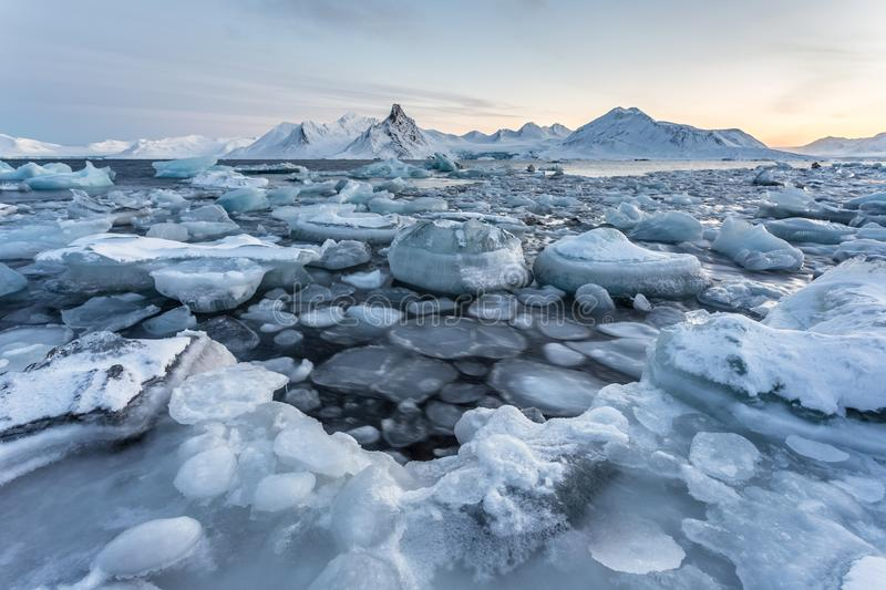 Typical unusual Arctic winter landscape - Spitsbergen. Typical Arctic ice landscape - Svalbard royalty free stock image