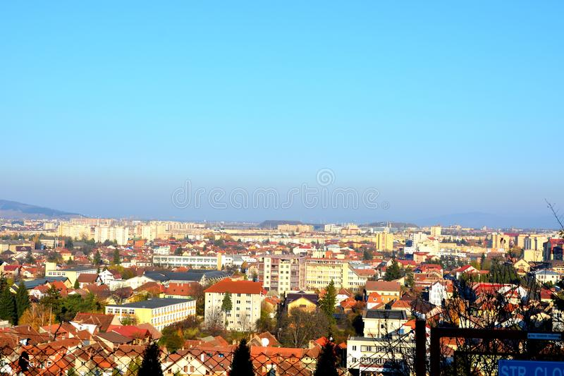 Typical urban landscape in the city Brasov, Transylvani, Romania royalty free stock images