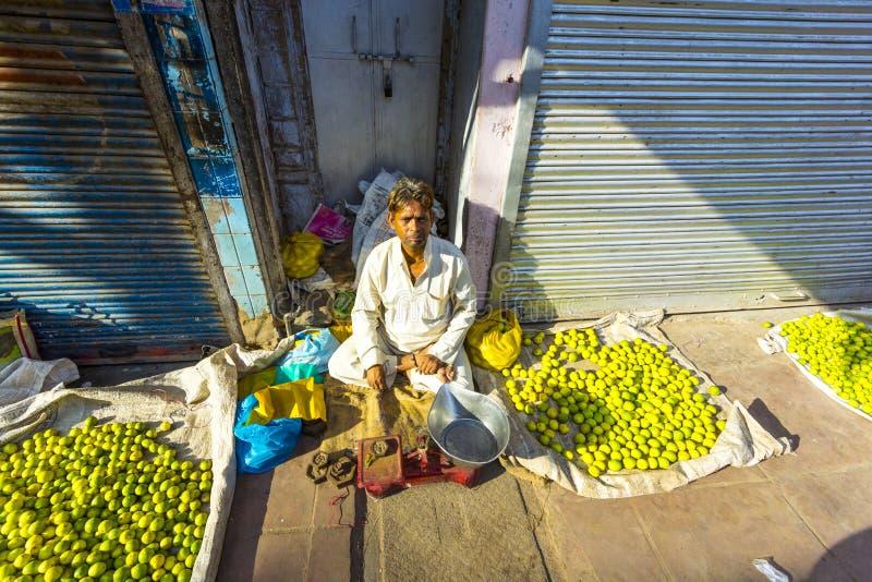 Typical vegetable street market. NEW DELHI - OCTOBER 16: Typical vegetable street market in India on October 16, 2012 in New Delhi, India. Food hawkers in India royalty free stock images