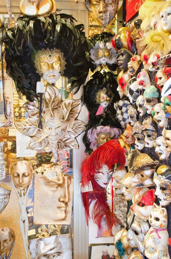Typical venetian souvenir mask shop stock image