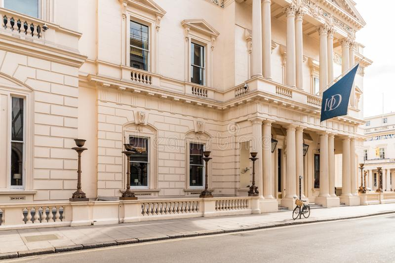 A typical view in London. London October 2018. A view of the institute of Directors building in London royalty free stock photo