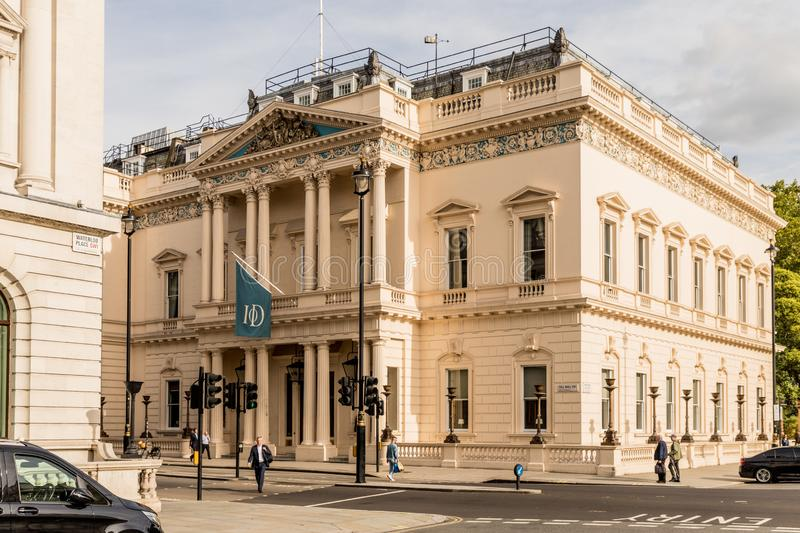 A typical view in London. London October 2018. A view of the Institute od Directors building in London stock images