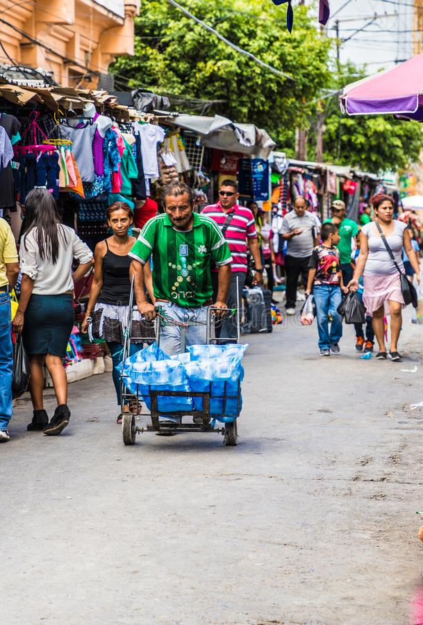 A typical view in San Salvador in El Salvador. San Salvador. February 2018. A typical street scene in San Salvador in El Salvador royalty free stock photo