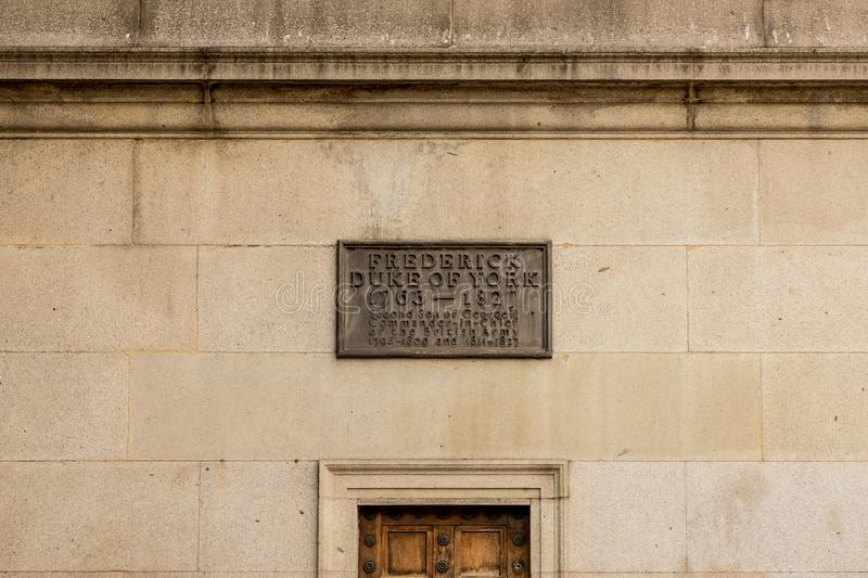 A typical view in Westminster in London. London. September 2018. A view of a plaque to the Frederick Duke of York column in Pall Mall in London stock photo