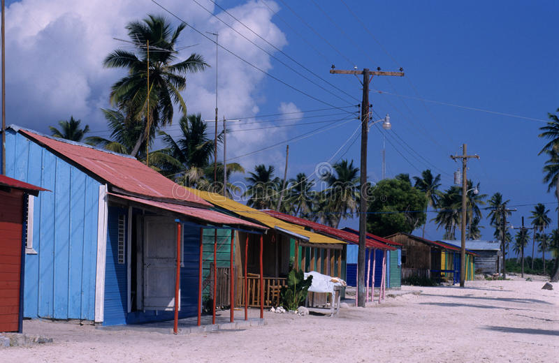 Typical village Saona island Dominican republic. Typical village at Saona island - Dominican republic royalty free stock images
