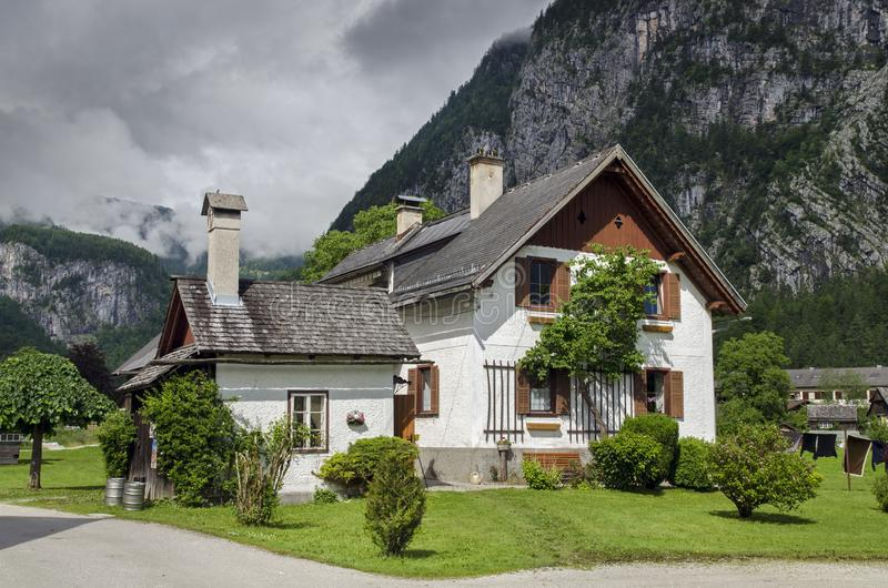 Typical vintage authentic houses in Hallstatt, Austria. stock photography
