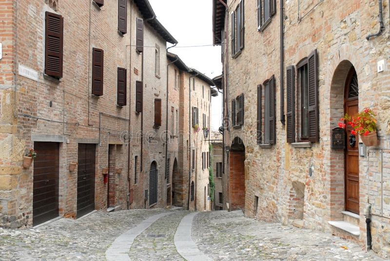 A typical way of Castell'arquato in the province of Parma (Italy) royalty free stock image