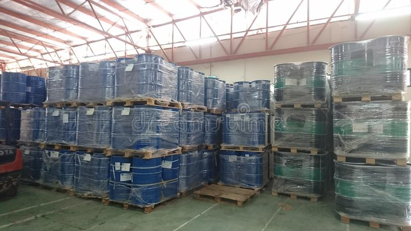 A warehouse that stores chemicals. This is a typical way of storing chemicals in a warehouse royalty free stock images