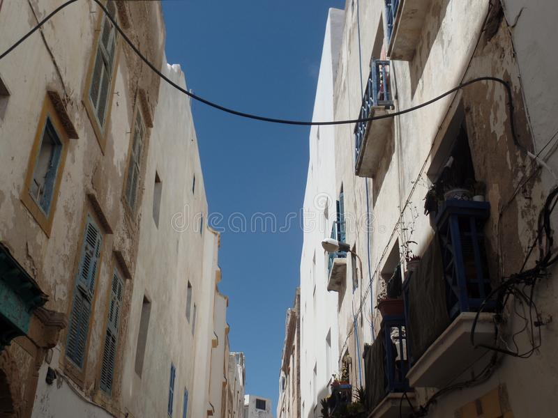 Typical white washed buildings in Essaouira, Morocco royalty free stock photography