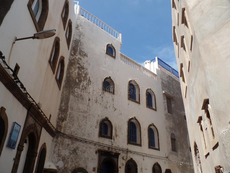 Typical white washed buildings in Essaouira, Morocco stock photography