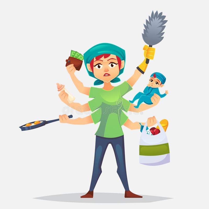 The typical woman that has a lots of chores to do Multitasking mother. Modern woman - with baby, working, cooking and make a shopp. Ing. Vector flat cartoon stock illustration