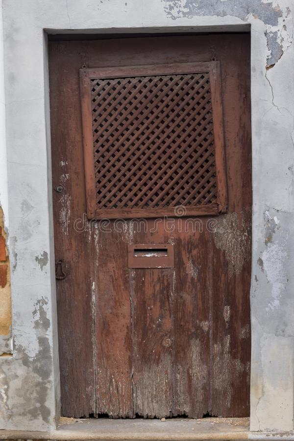 Typical wooden doors of Portugal stock images