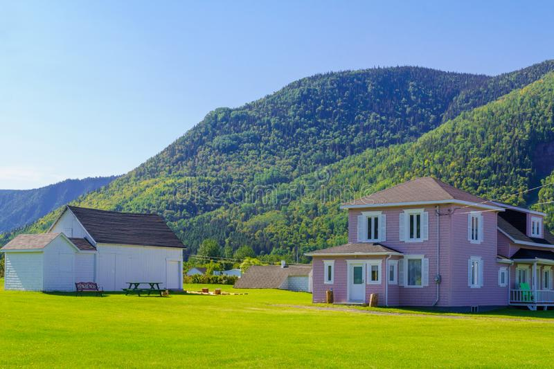 Typical wooden houses in Mont-Saint-Pierre, Gaspe Peninsula. Quebec, Canada royalty free stock images