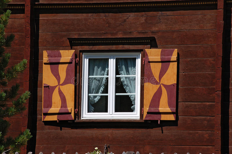 Typical Wooden Window - Engadine Switzerland stock images