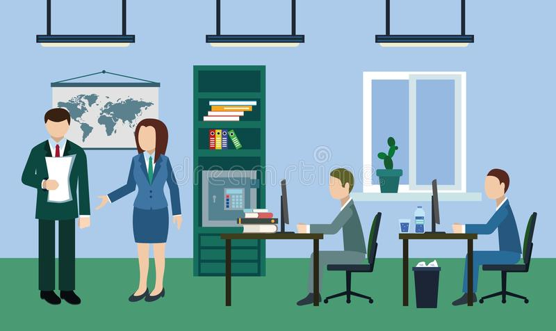 Typical working day in the office stock images