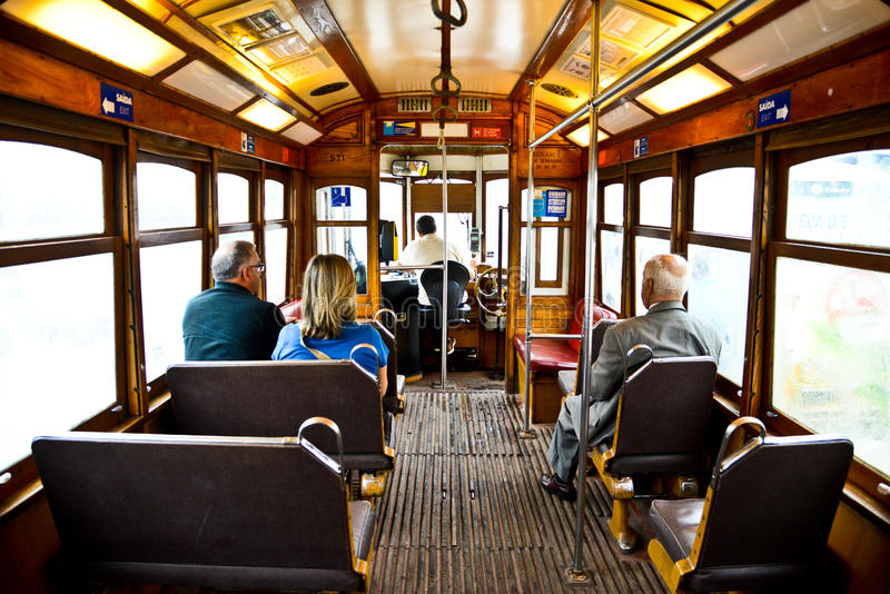 Typical yellow tram interior, Lisbon, Portugal. stock images