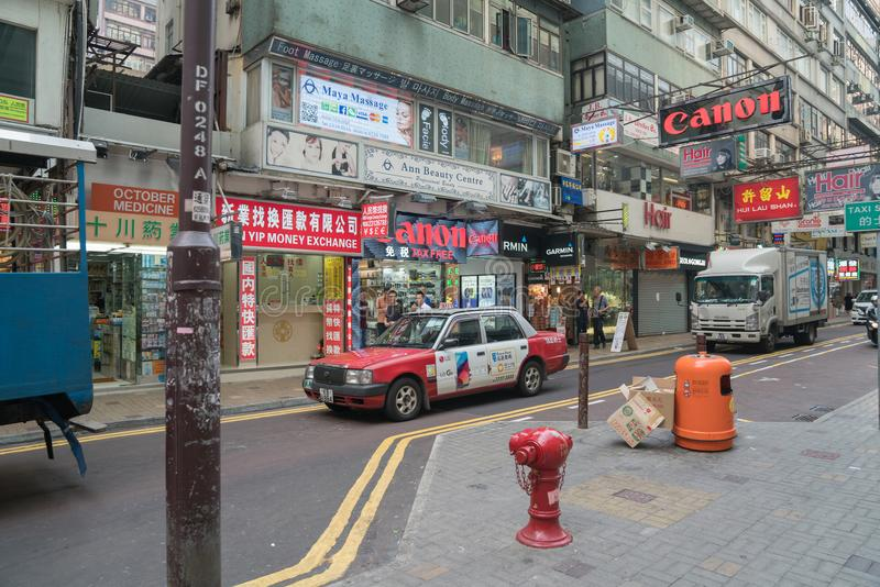 Typically Asian downtown city street signs everywhere Kowloon, H royalty free stock image