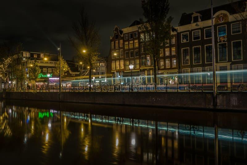 Typies Amsterdam, wielki miasto z udziałami woda, starzy budynki i kolory, zdjęcie stock