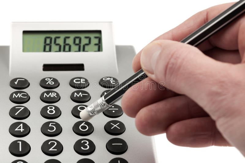 Download Typing on calculator stock photo. Image of hand, business - 14245818