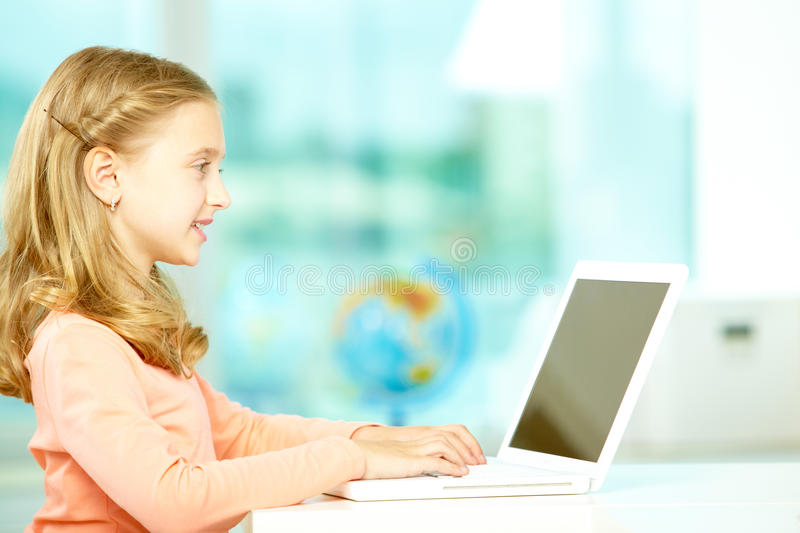 Download Typing girl stock image. Image of portrait, classroom - 22272751