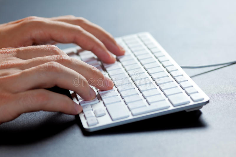 Typing On The Keyboard Stock Photos