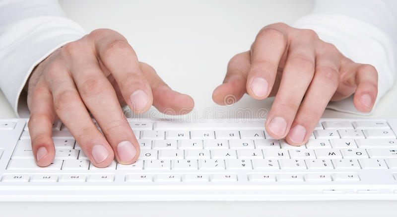 Typing At The Keyboard Stock Photography