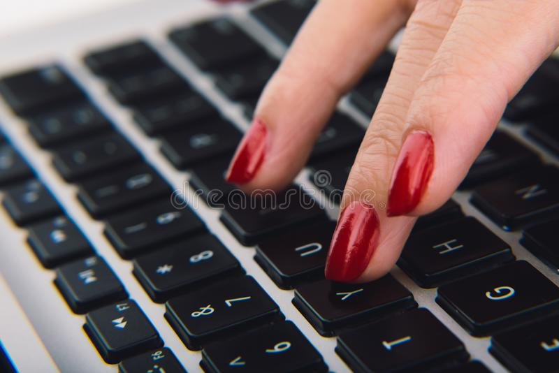 Typing lady stock images