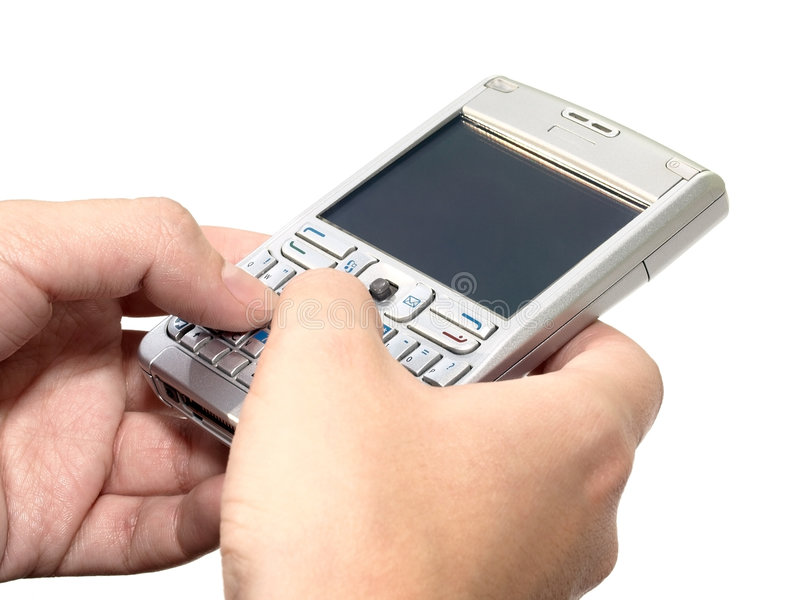 Typing Message On The Personal Digital Assistant Royalty Free Stock Images