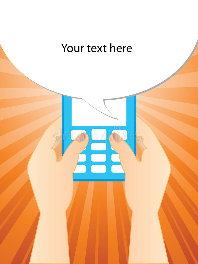 Download Typing a SMS stock vector. Image of gadget, button, date - 23548032