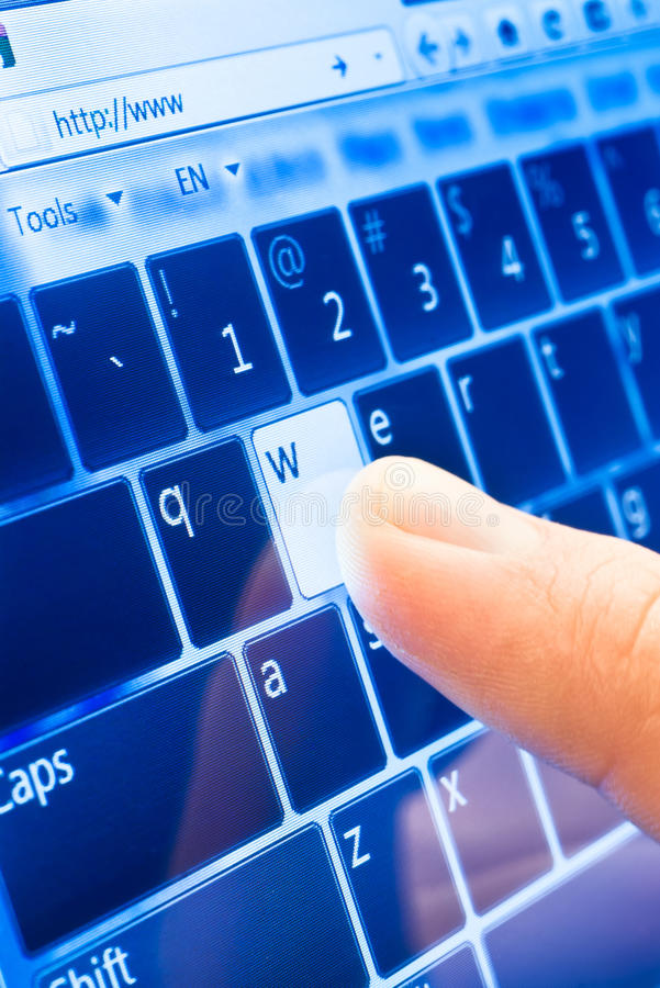 Typing On Touch Screen Stock Photo