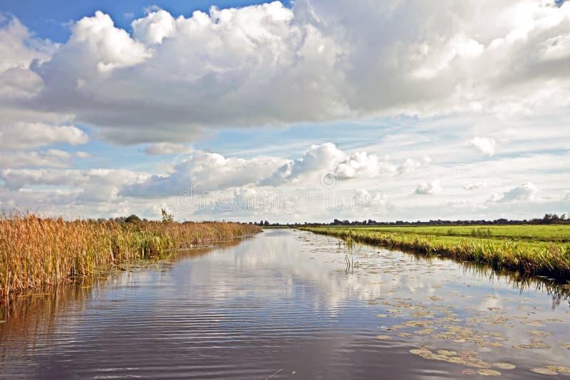 Typisch breed Nederlands landschap in Nederland stock foto's