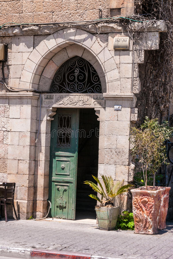 Typisch deuropeningsdetail, Jeruzalem, Israël stock foto's