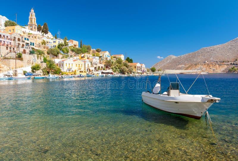 Typisch Grieks landschap in Symi-eiland, Dodecanese, Griekenland royalty-vrije stock foto