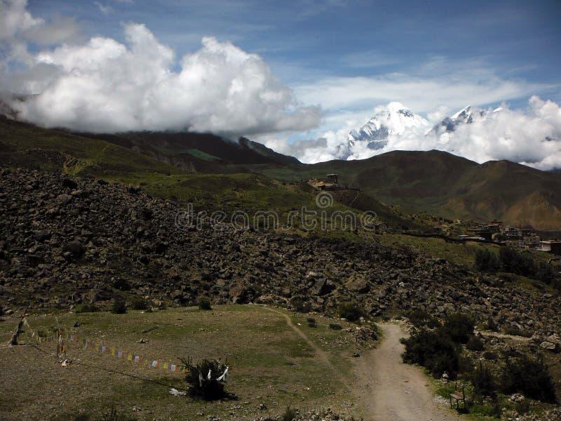 Typisch Himalayan-Landschap in Annapurna-Gebied royalty-vrije stock fotografie