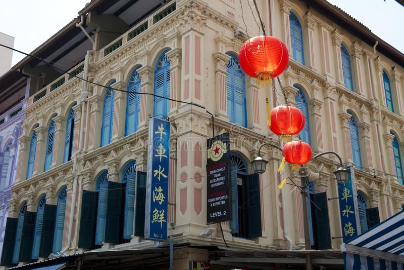 Typisch huizen Chinees Kwart, rode lantaarns, historische architectuur, Singapore stock afbeeldingen